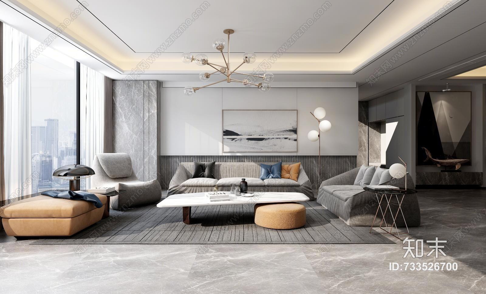 现代客厅 沙发茶几