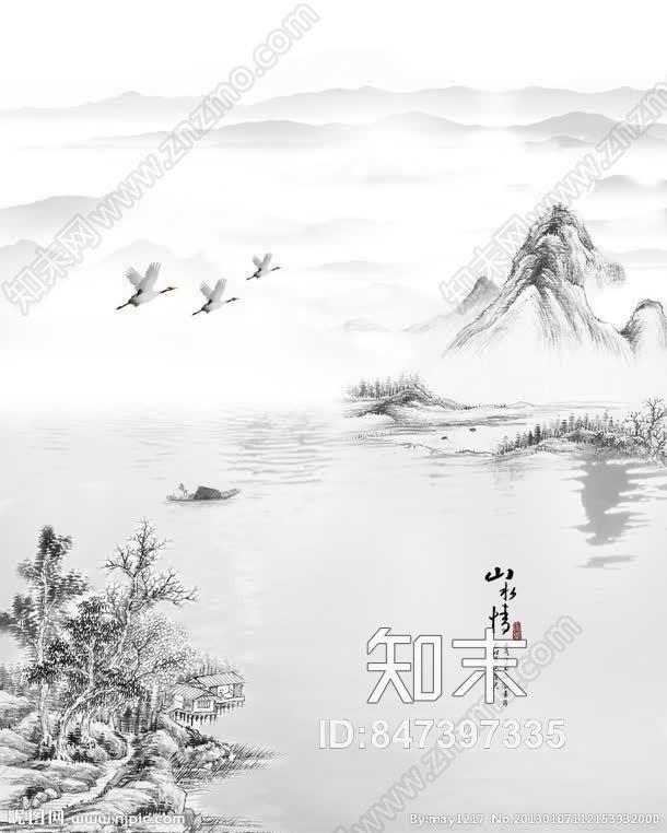 中式墙面壁纸贴图