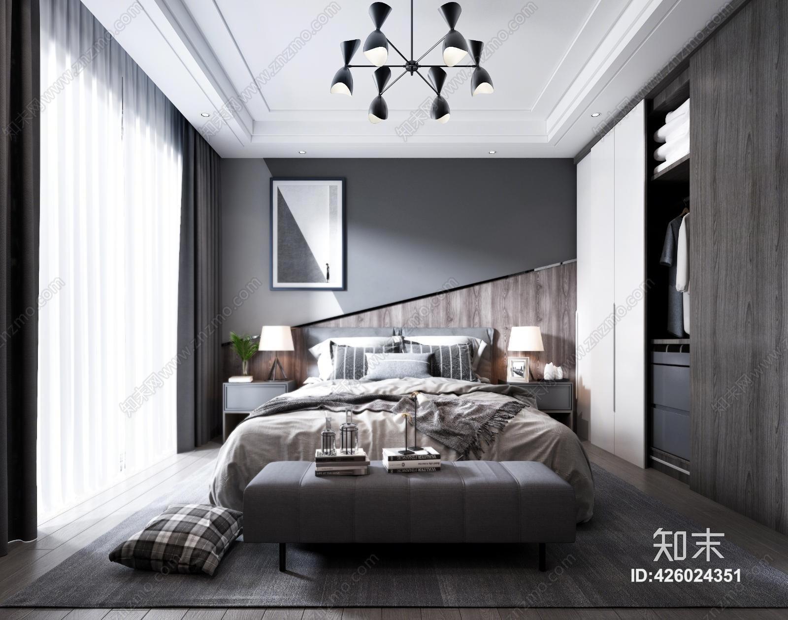 现代主人房 床具 吊灯 台灯 挂画 电视 装饰品 地毯 床头柜 装饰品 窗帘
