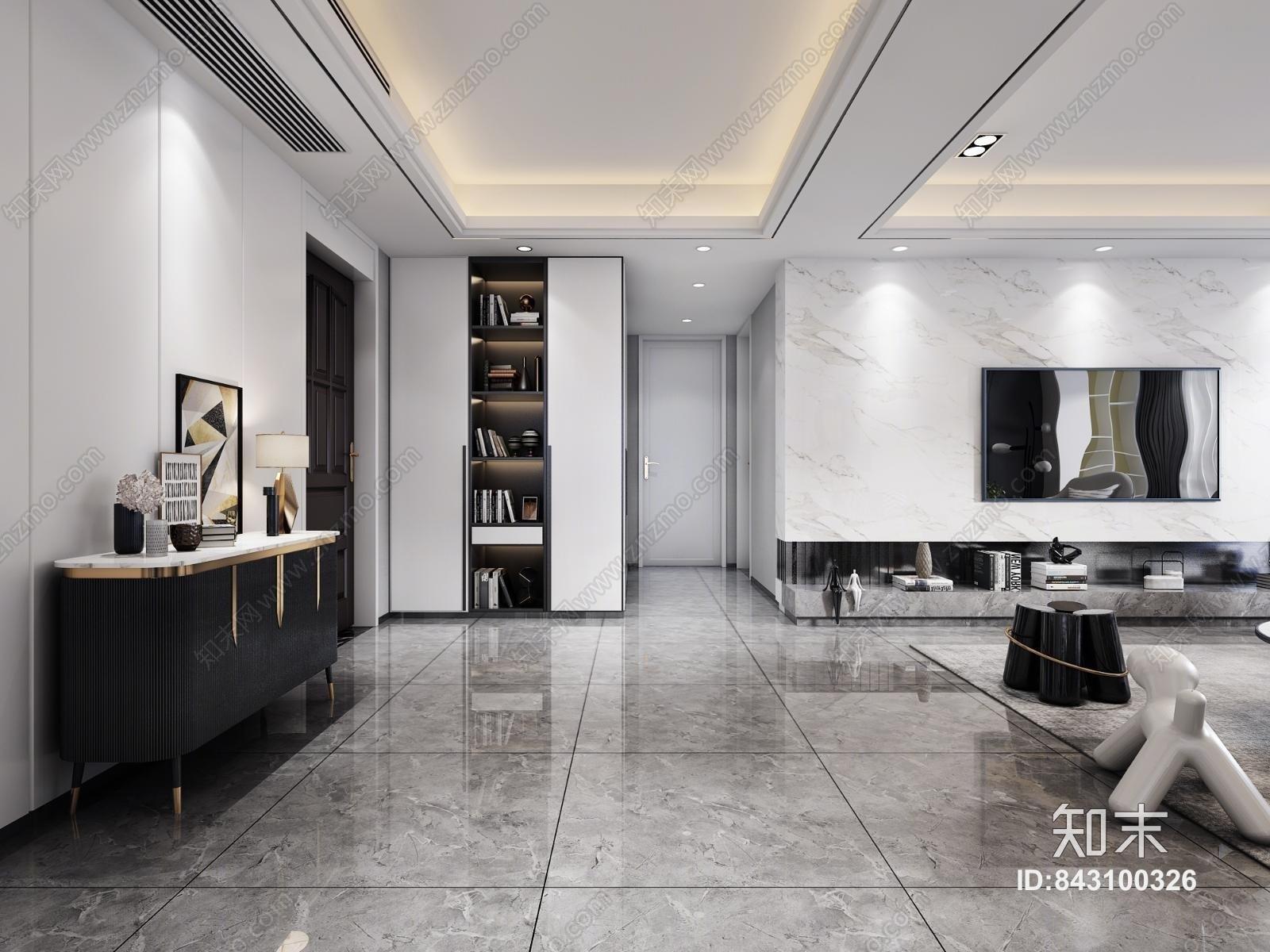 现代黑白灰客餐厅3D模型下载【ID:843100326】