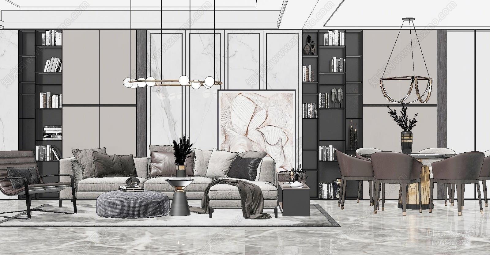 现代风格家居客厅SU模型下载【ID:948827832】