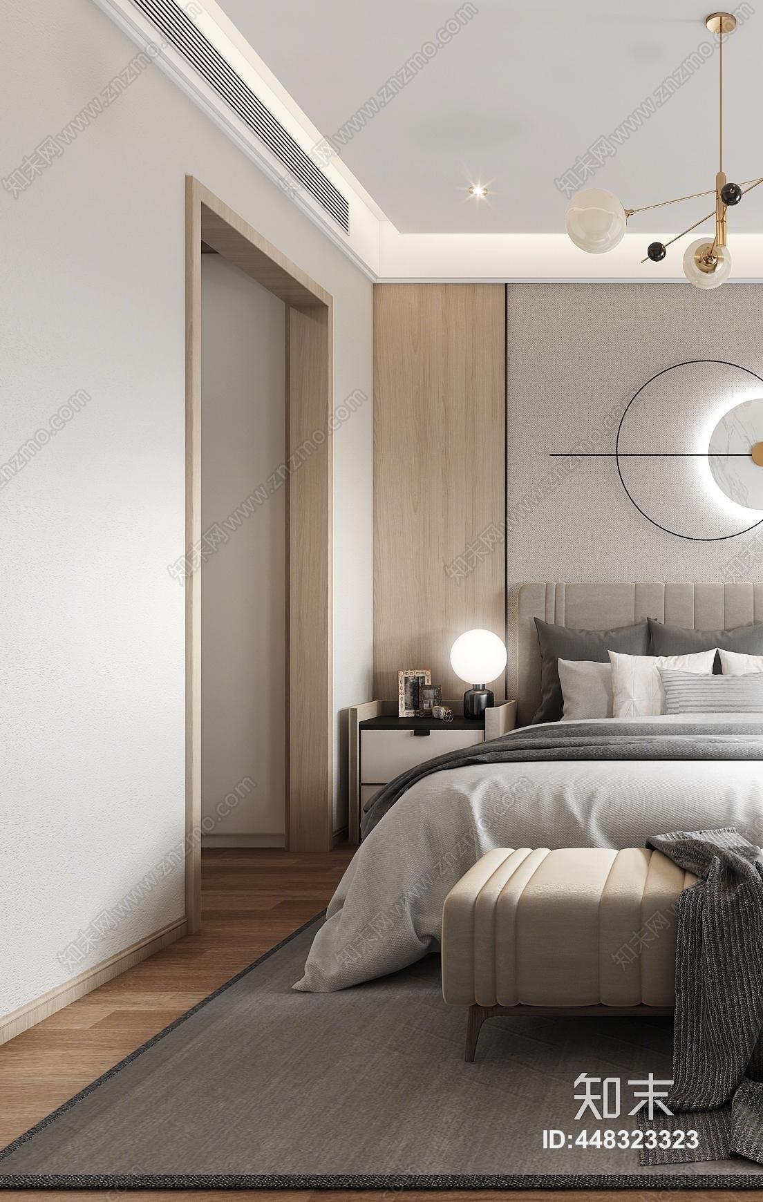现代轻奢卧室3D模型下载【ID:448323323】