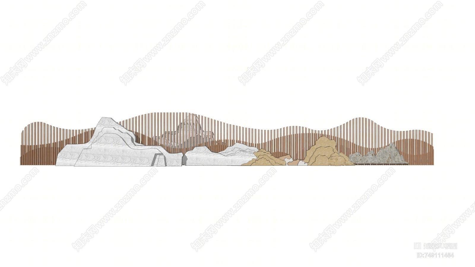 新中式假山山形片石SU模型下载【ID:749111484】