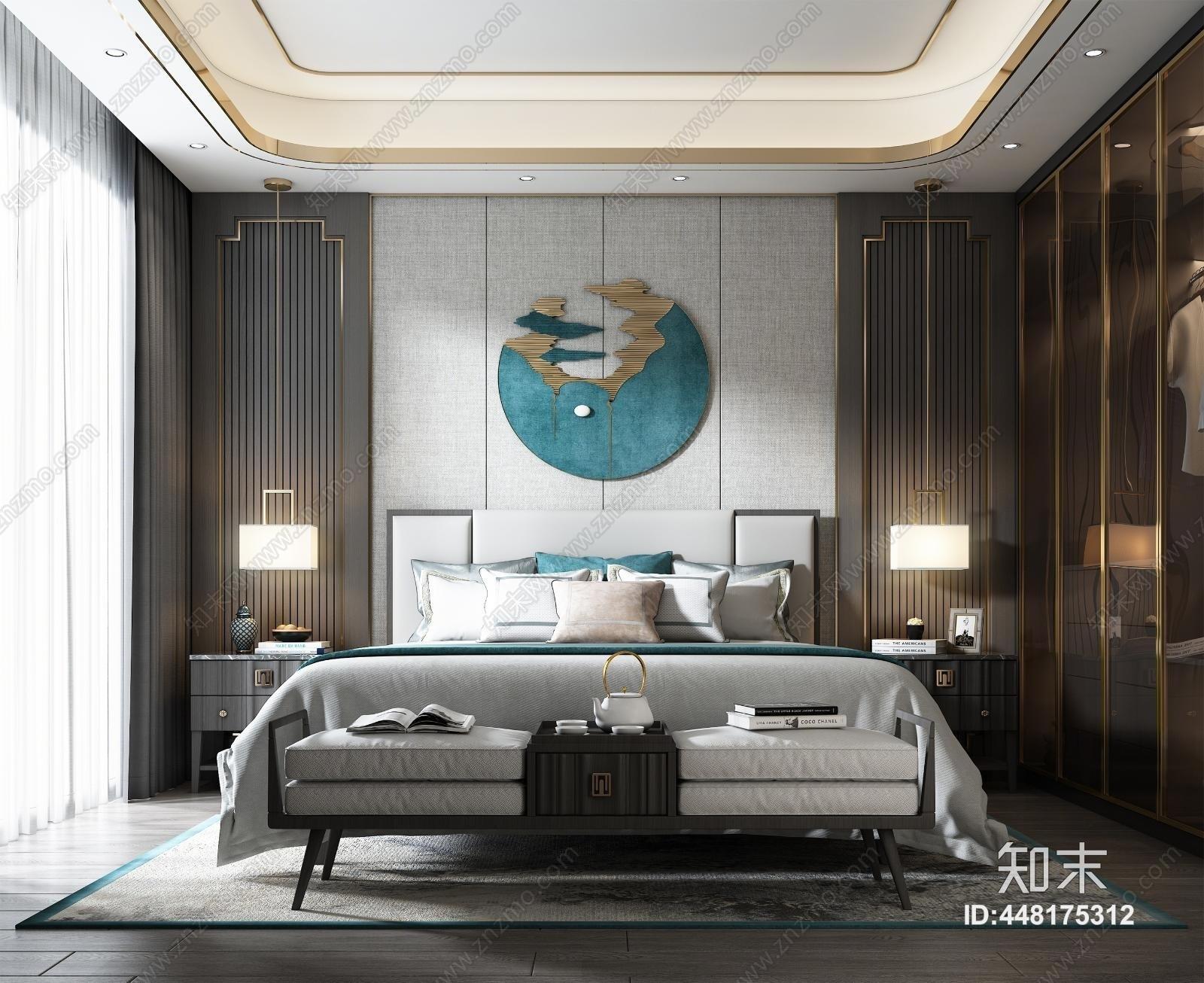 新中式卧室3D模型下载【ID:448175312】