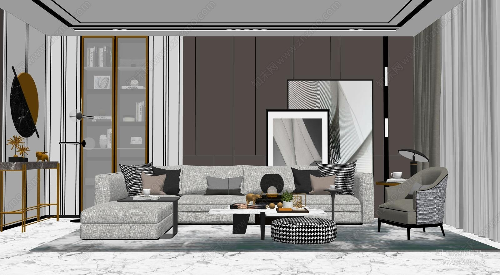 现代奢华客厅 沙发 玄关柜 茶几 休闲椅 画