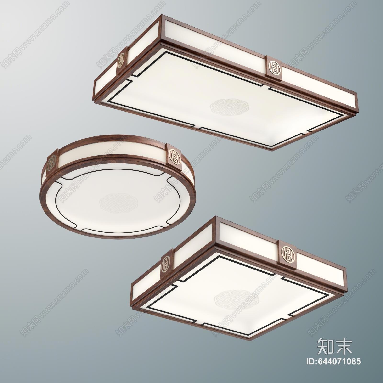 新中式吸顶灯3D模型下载【ID:644071085】