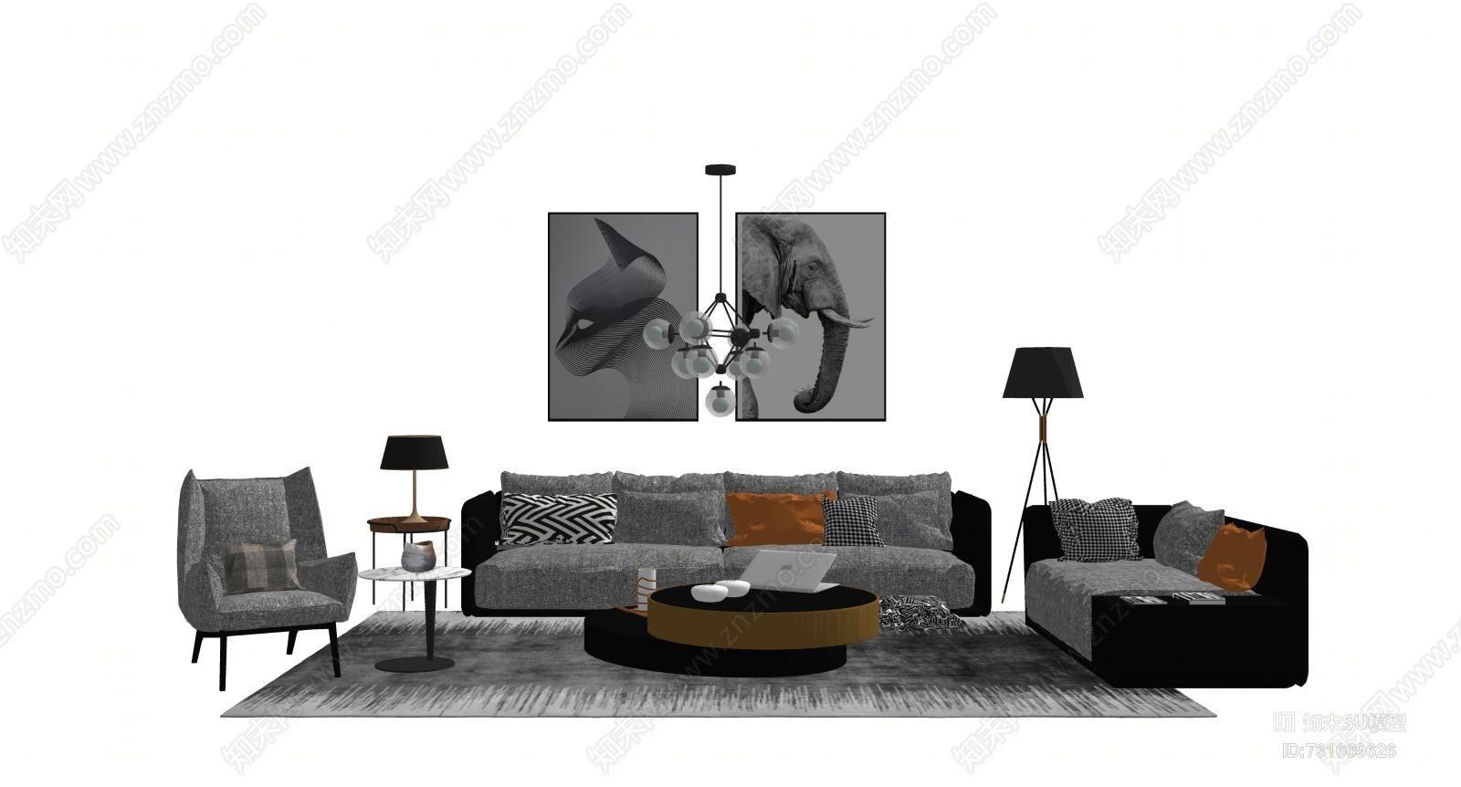 客厅现代组合沙发茶几沙发 箱包 家具 家居物品 饰品