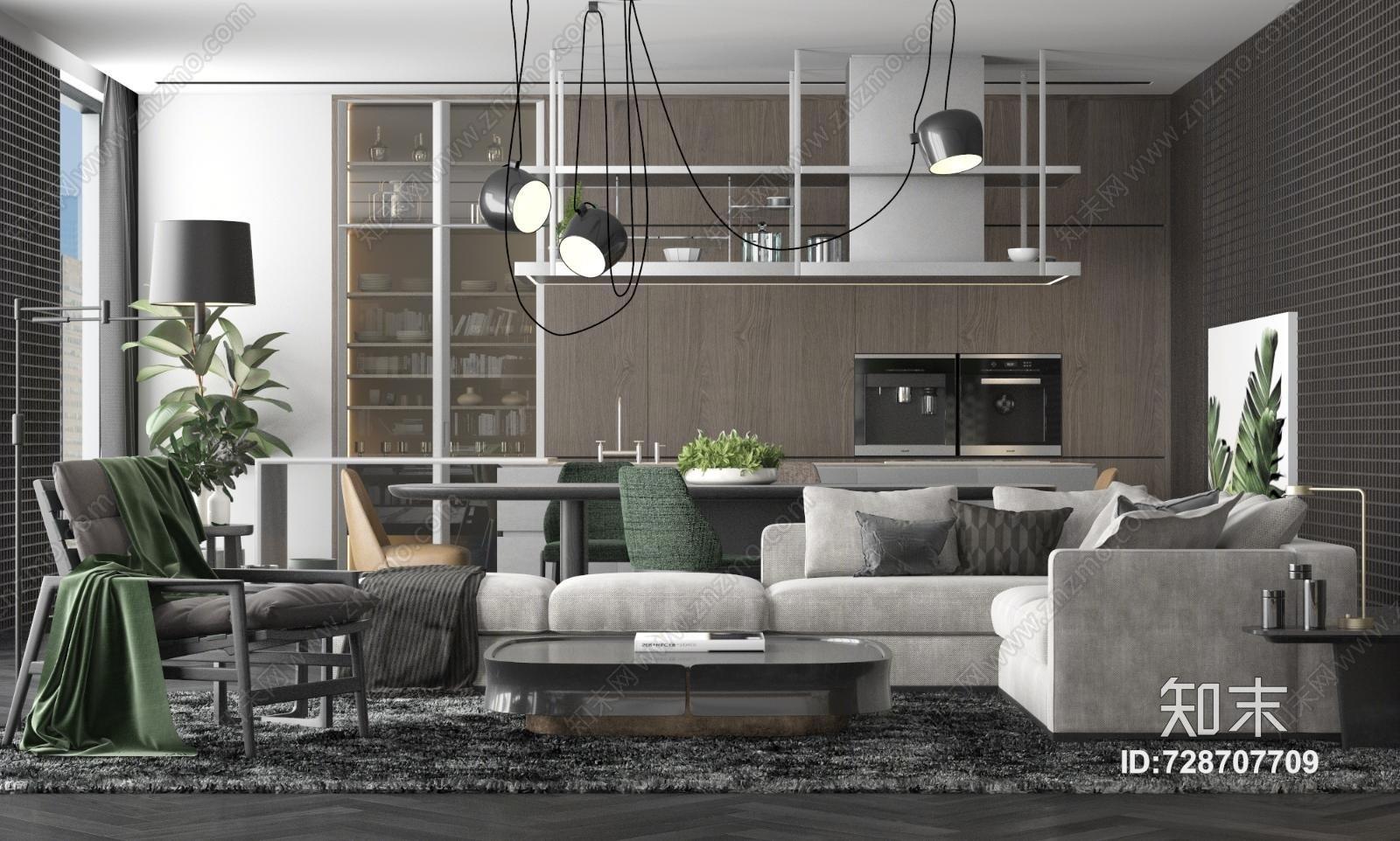 现代家居客厅空间 沙发茶几 吊灯