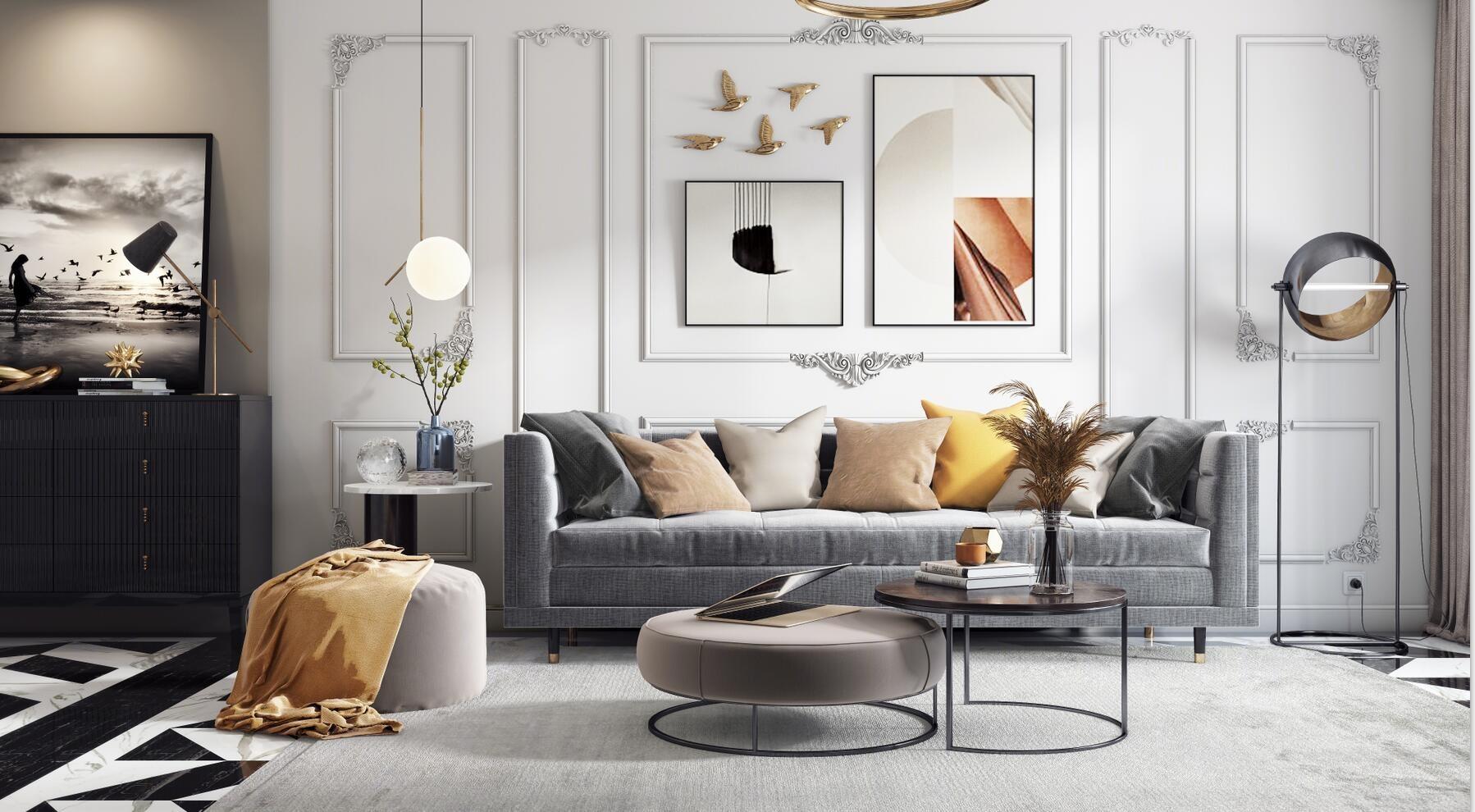 北欧法式客厅 沙发茶几 吊灯