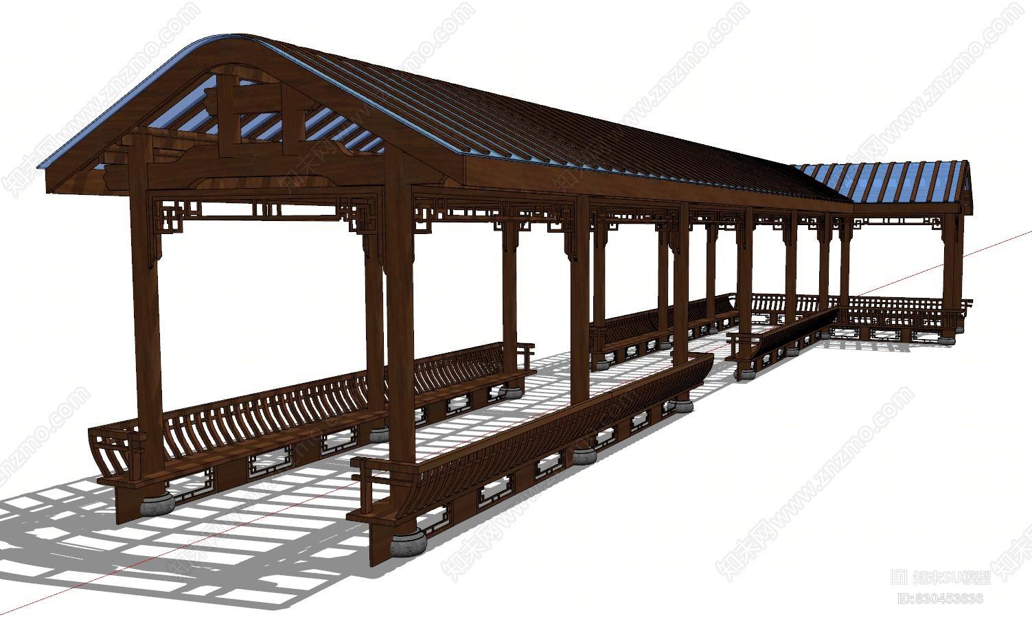 中式廊桥长廊走廊
