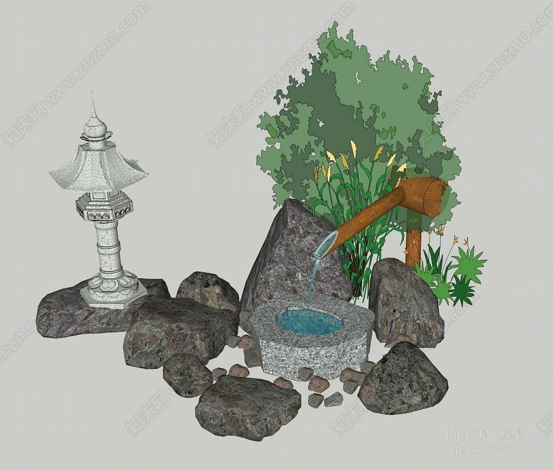 日式水钵惊鹿小景 庭院景观设计