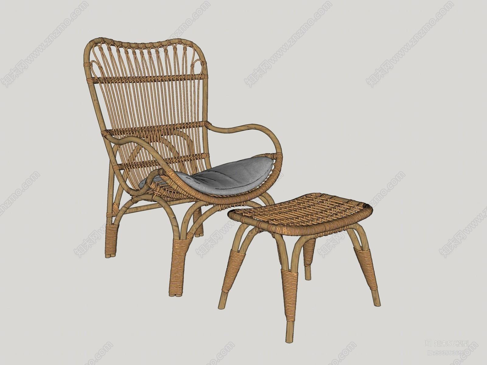 现代竹藤单椅I椅子