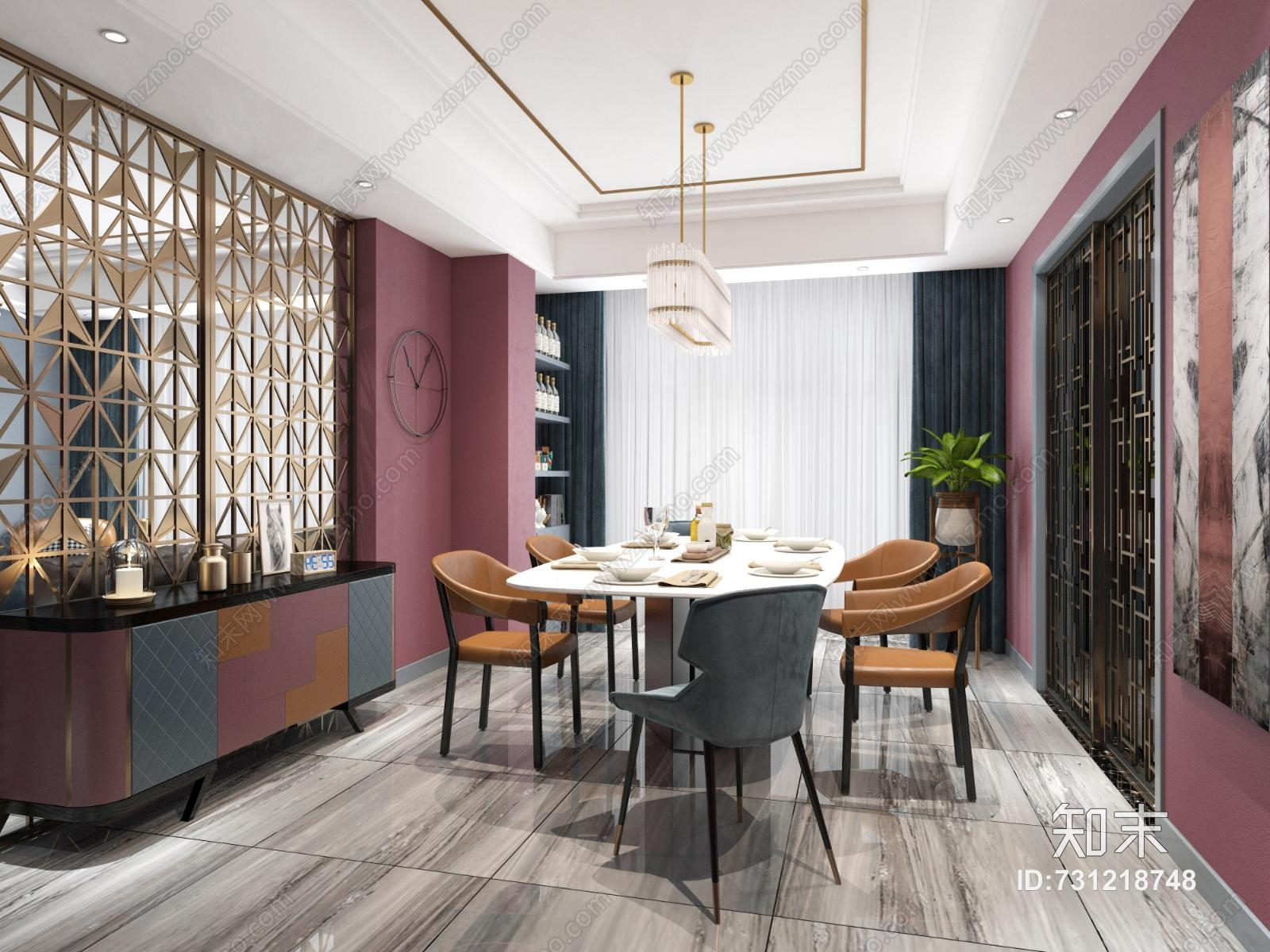 现代轻奢客餐厅 沙发茶几 坐凳 绿植 金属屏风 餐桌椅 装饰柜 吊灯