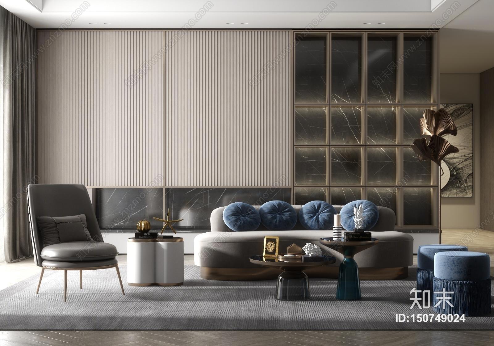 现代轻奢休闲多人沙发3D模型下载【ID:150749024】