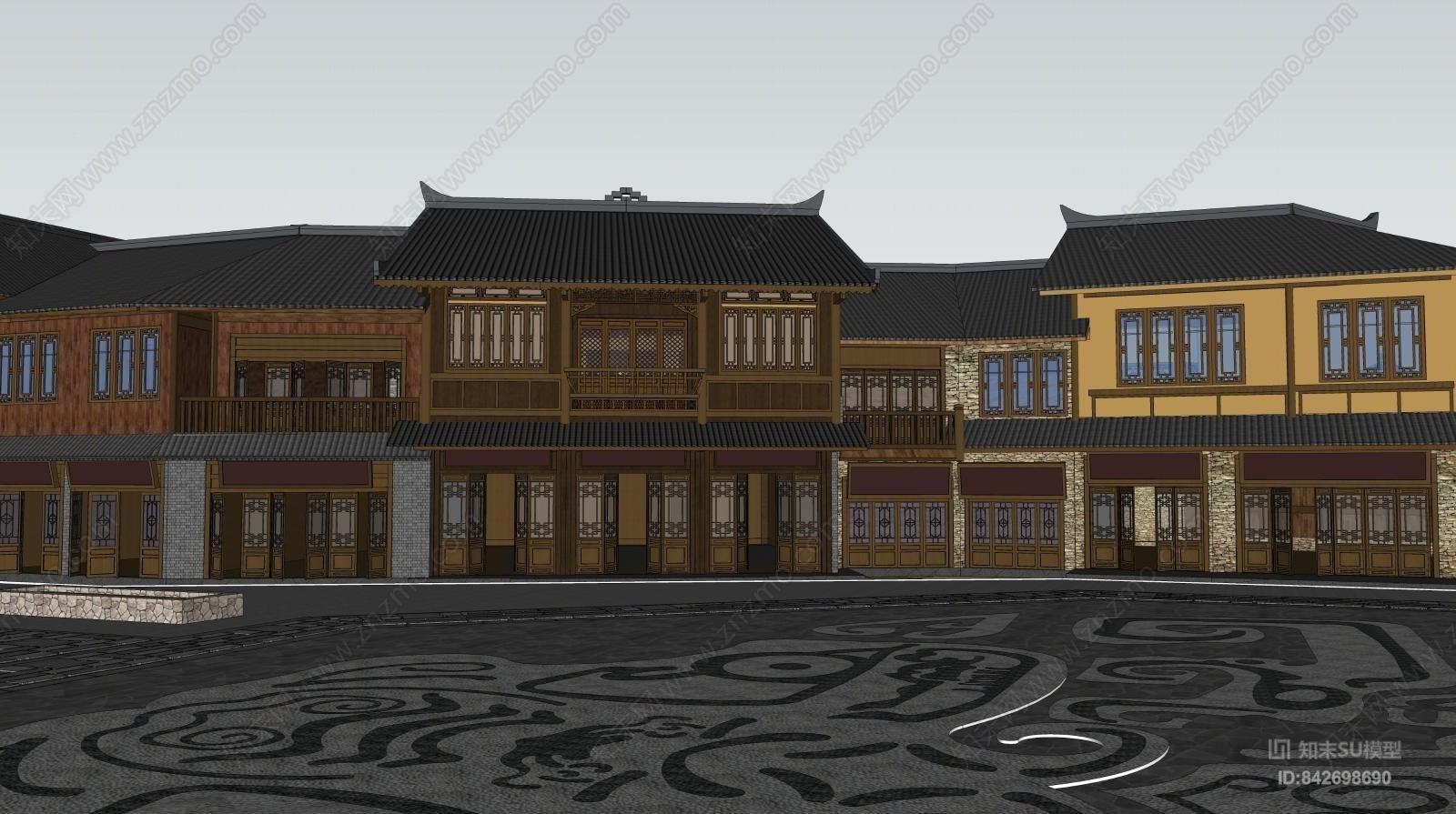 中式户外建筑SU模型下载【ID:842698690】