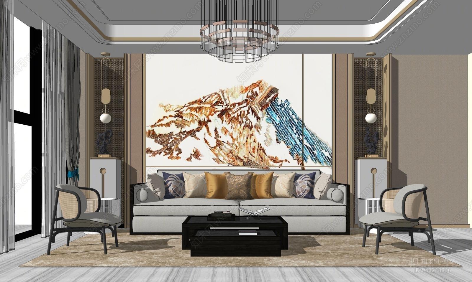 新中式风格家居客厅 沙发茶几组合