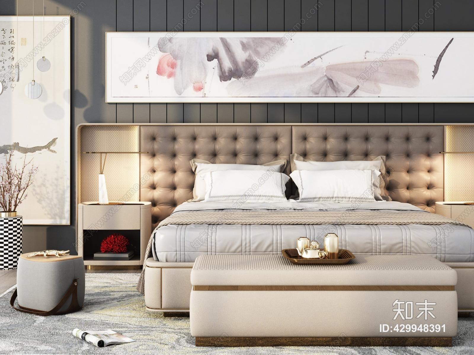 新中式现代轻奢卧室 床 床头柜 床榻 凳子 台灯 吊灯 饰品