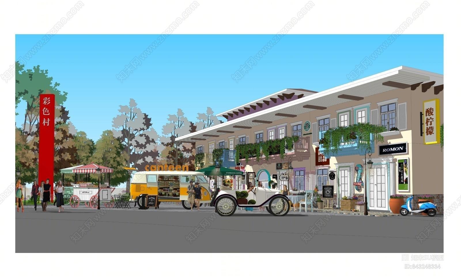 北欧特色建筑商业小镇SU模型下载【ID:843248334】