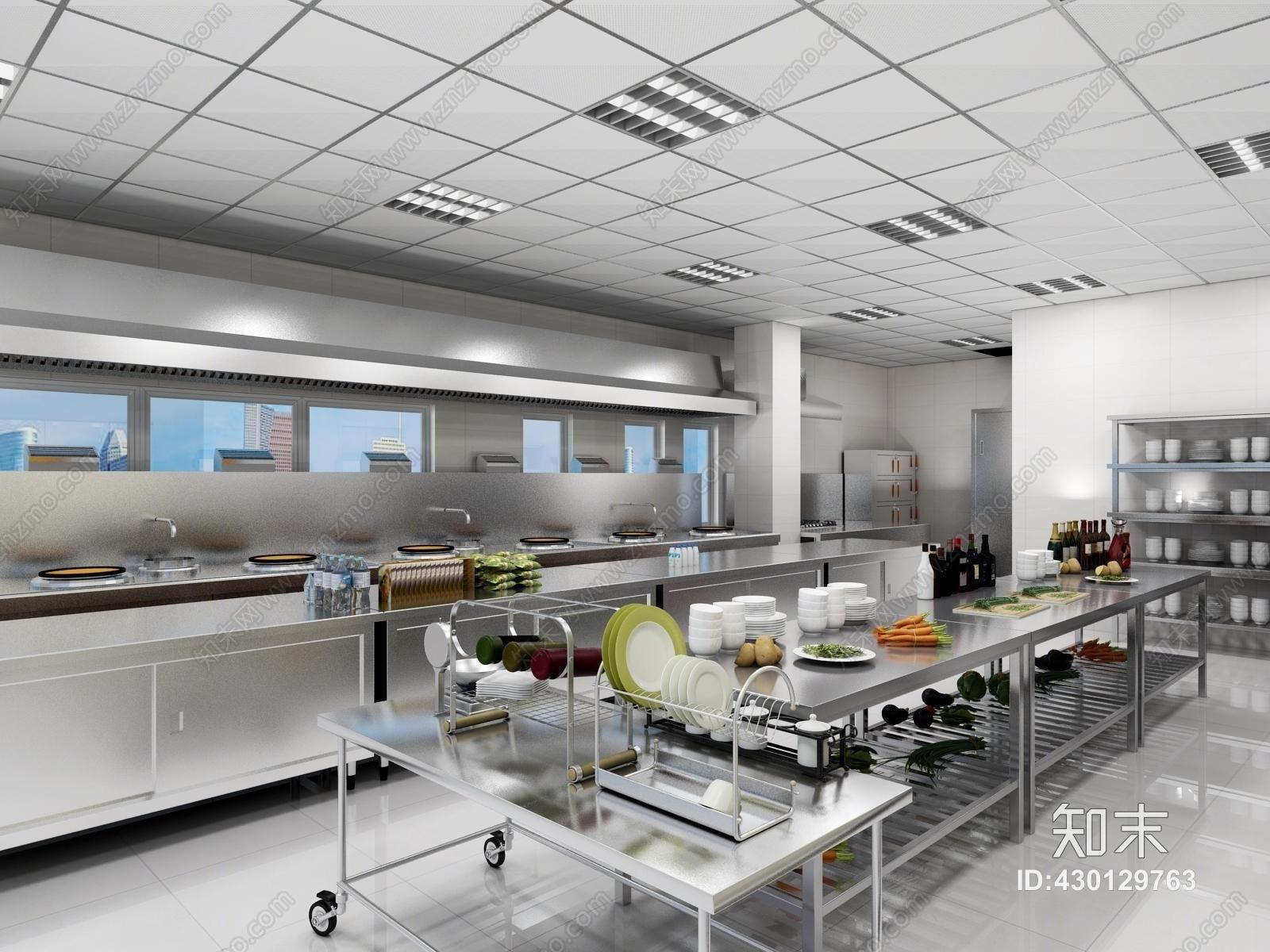 后厨高清下载_现代酒店中央厨房后厨3D模型下载【ID:430129763】_知末3d模型网