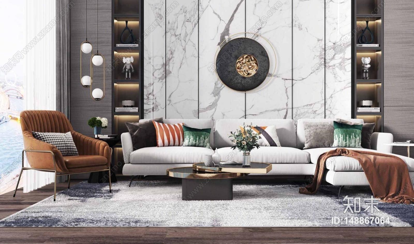 现代沙发茶几组合 休闲椅 吊灯 花瓶 饰品组合