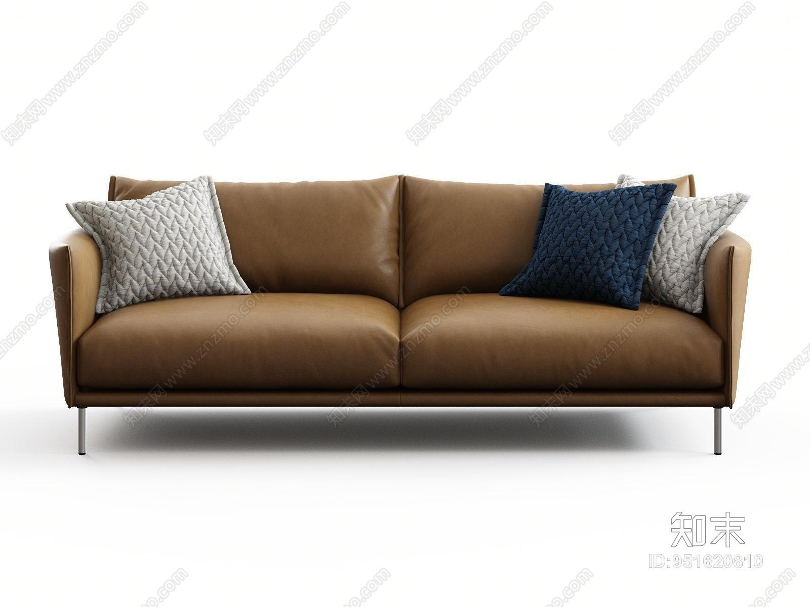 现代客厅皮质沙发3D模型下载【ID:951620810】