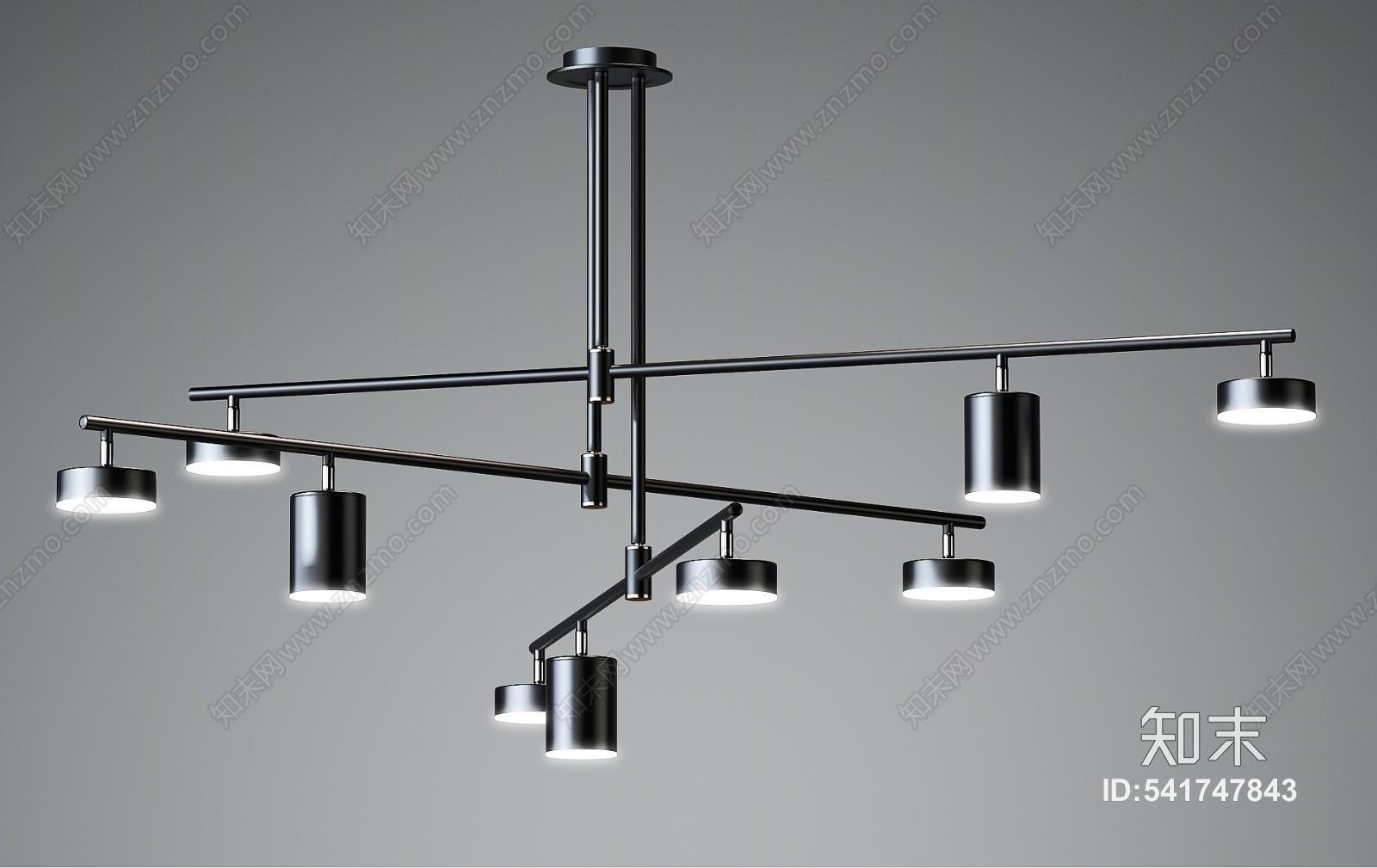 现代工业风吊灯3D模型下载【ID:541747843】