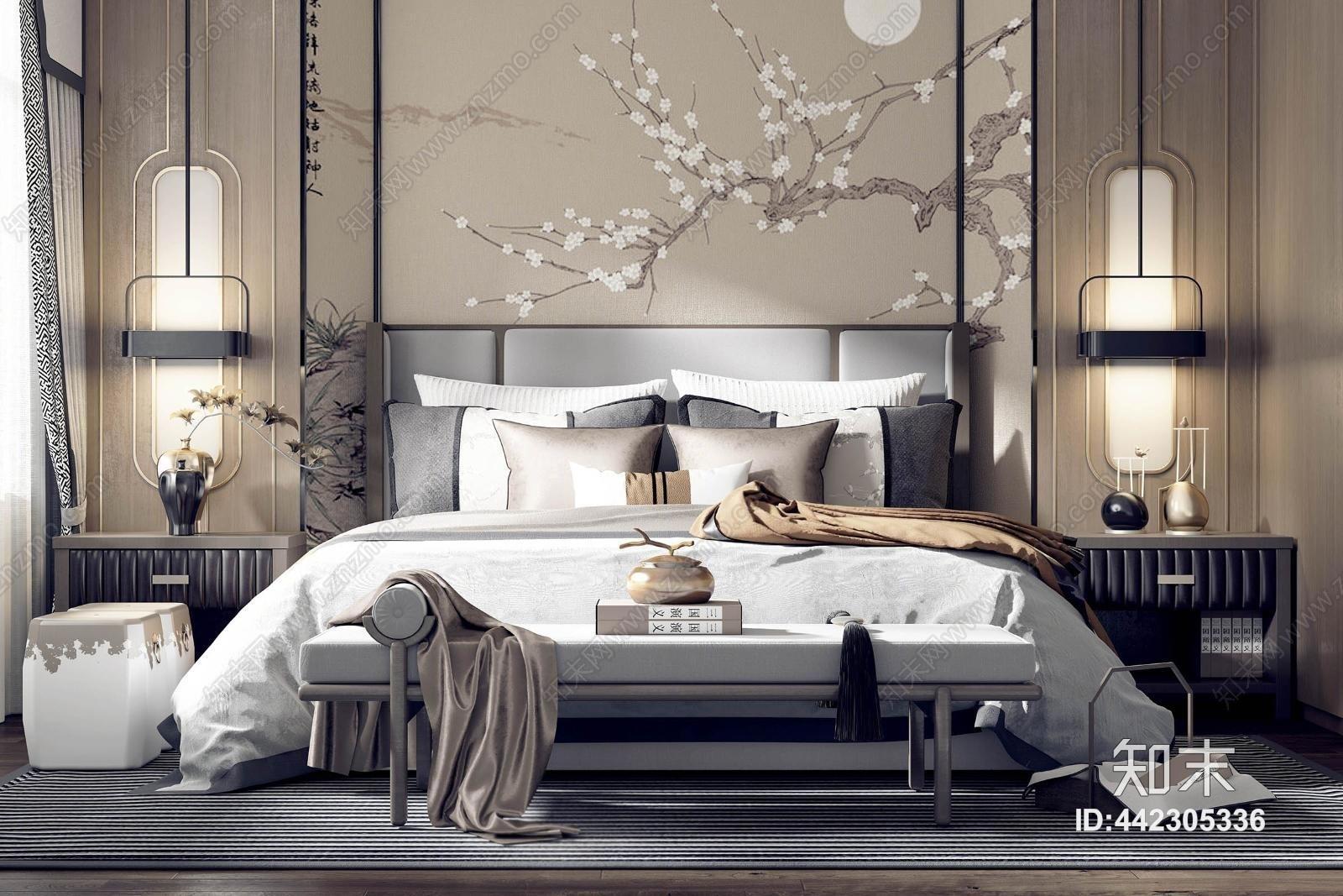 新中式卧室 床 背景墙 椅子 床尾凳 壁灯