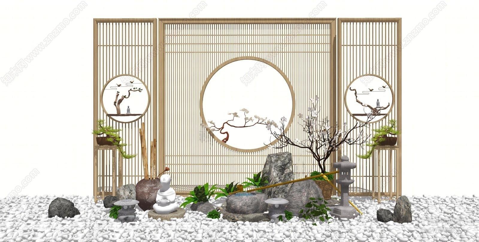 新中式景观小品SU模型下载【ID:547995901】