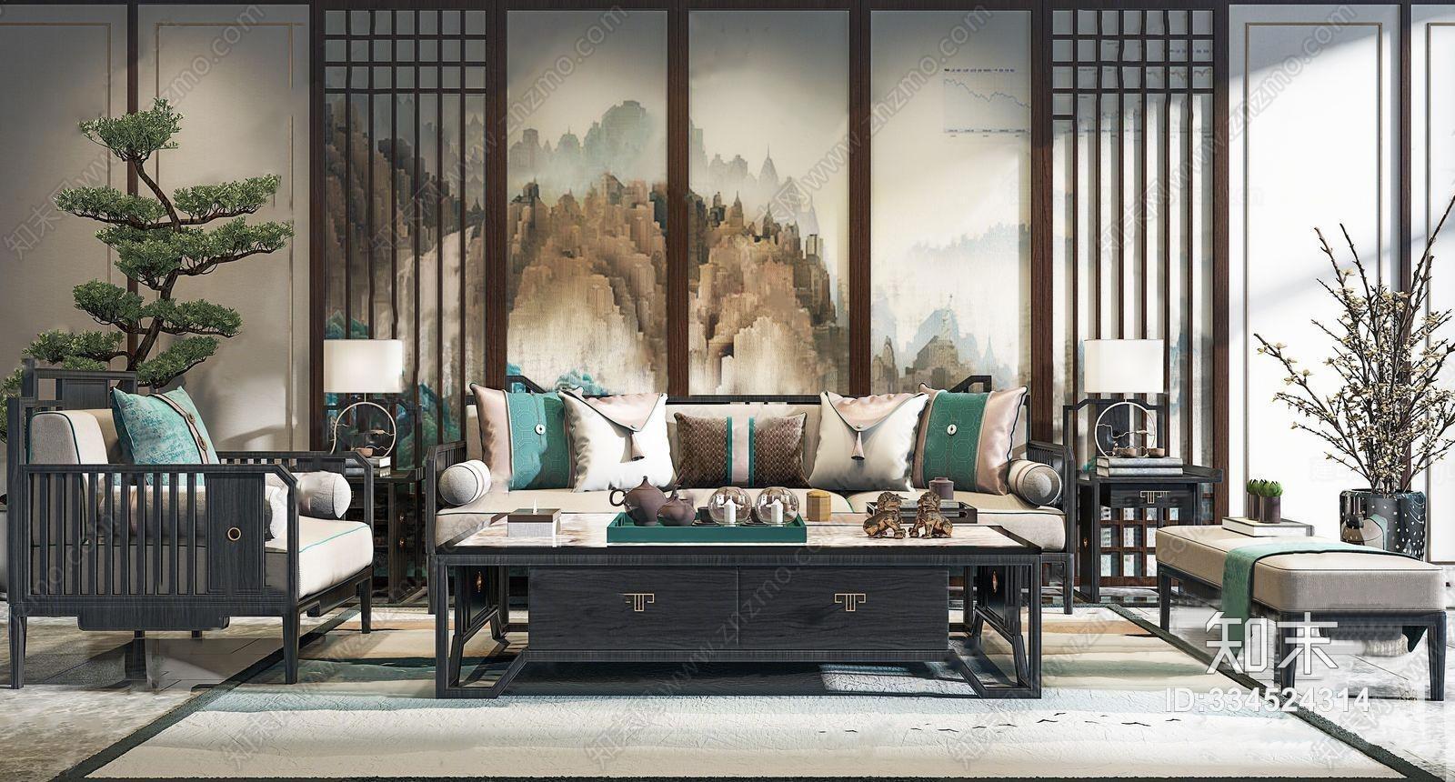 新中式沙发茶几组合 多人沙发 单人沙发 沙发凳 角几 盆栽 装饰画