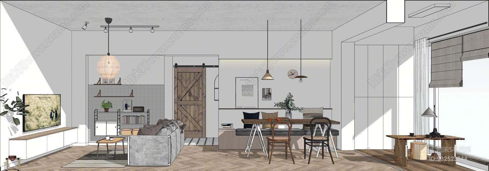 北欧客厅餐厅卧室厨房整体方案沙发茶几橱柜双人床餐桌椅家具 餐厅 室内