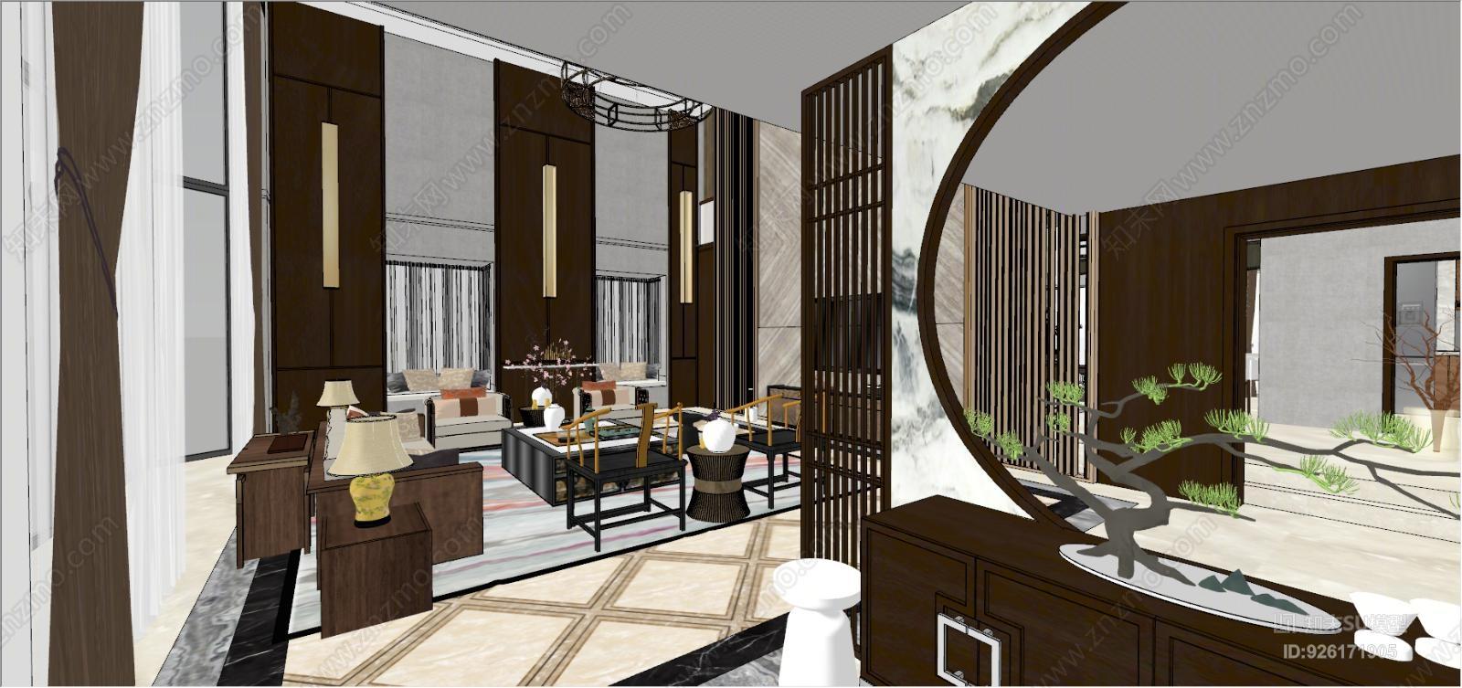 新中式别墅精装客厅餐厅卧室室内模型