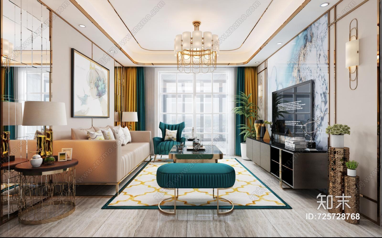现代轻奢客厅 现代客厅 沙发茶几 吊灯 挂画 电视柜电视 休闲椅 绿植