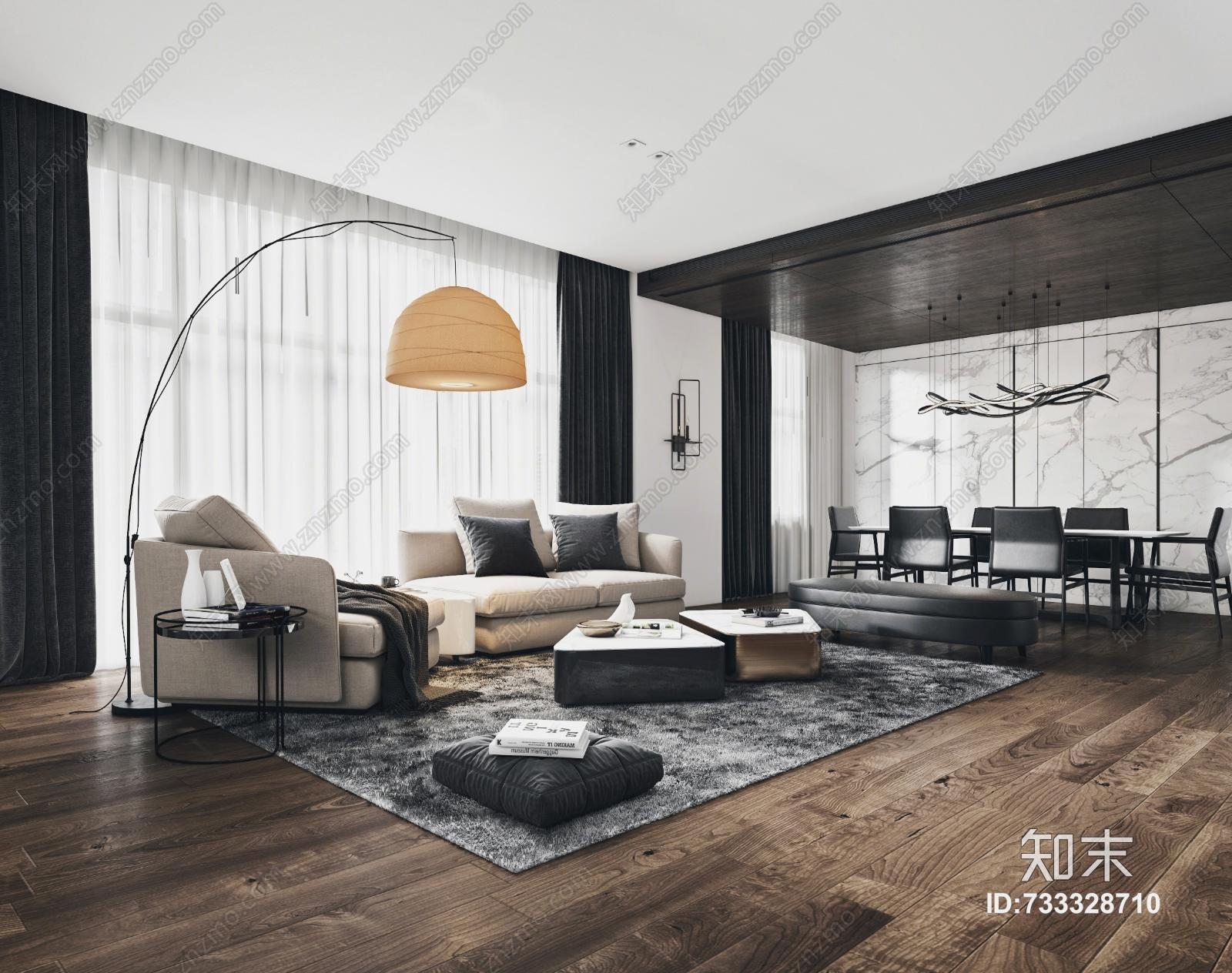 现代客厅 现代沙发 落地灯 餐桌 餐椅 椅子 凳子 踏 茶几