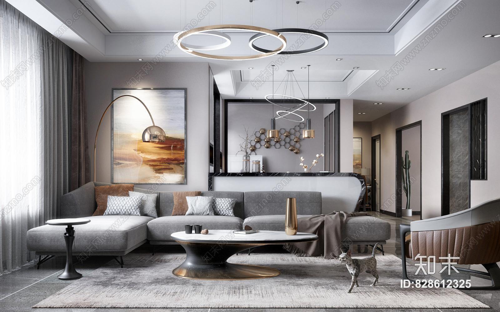 现代客厅餐厅 沙发组合 灯具 餐桌椅 挂画 茶几 装饰品 窗帘 边几 电视柜