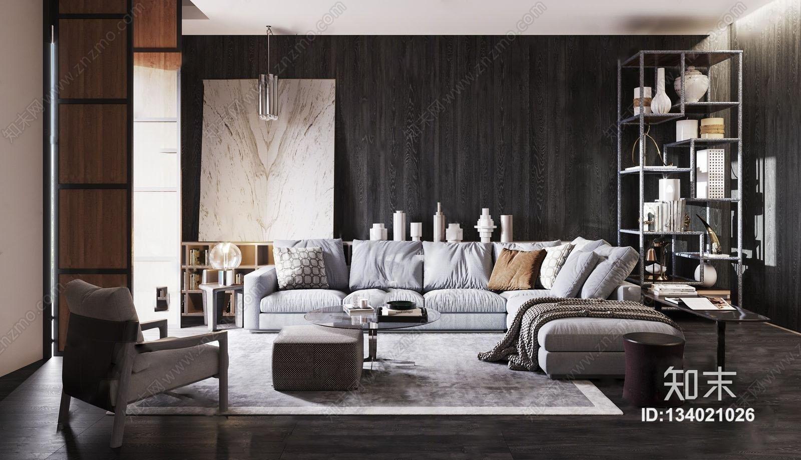 意大利米洛提Minotti现代沙发茶几装饰柜组合