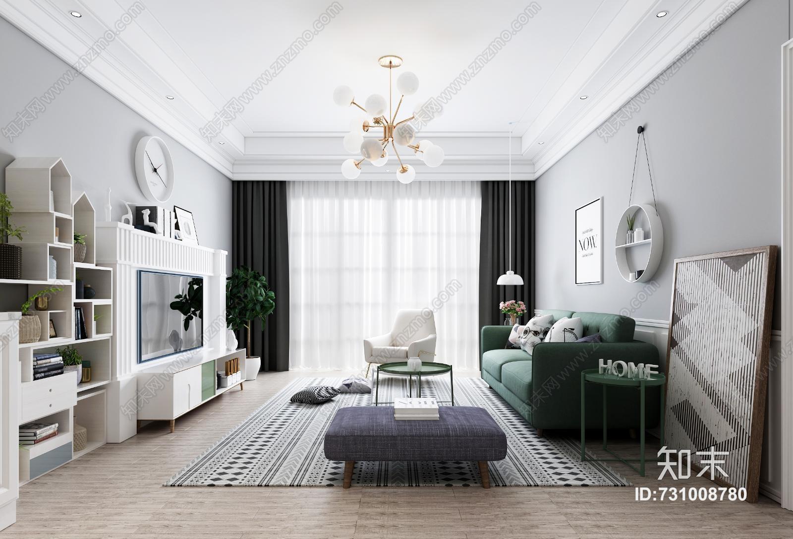 北欧客厅 沙发茶几 吊灯 装饰摆件 书柜书架 餐桌椅