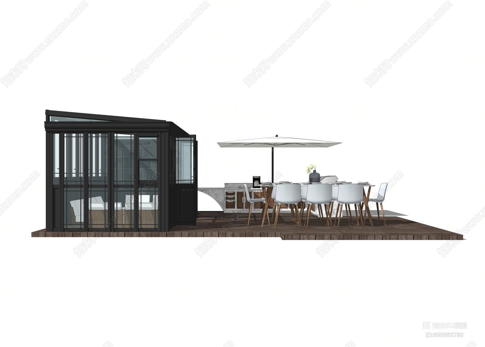 景观 别墅院子 户外休闲 桌椅组合 阳光房 亭子