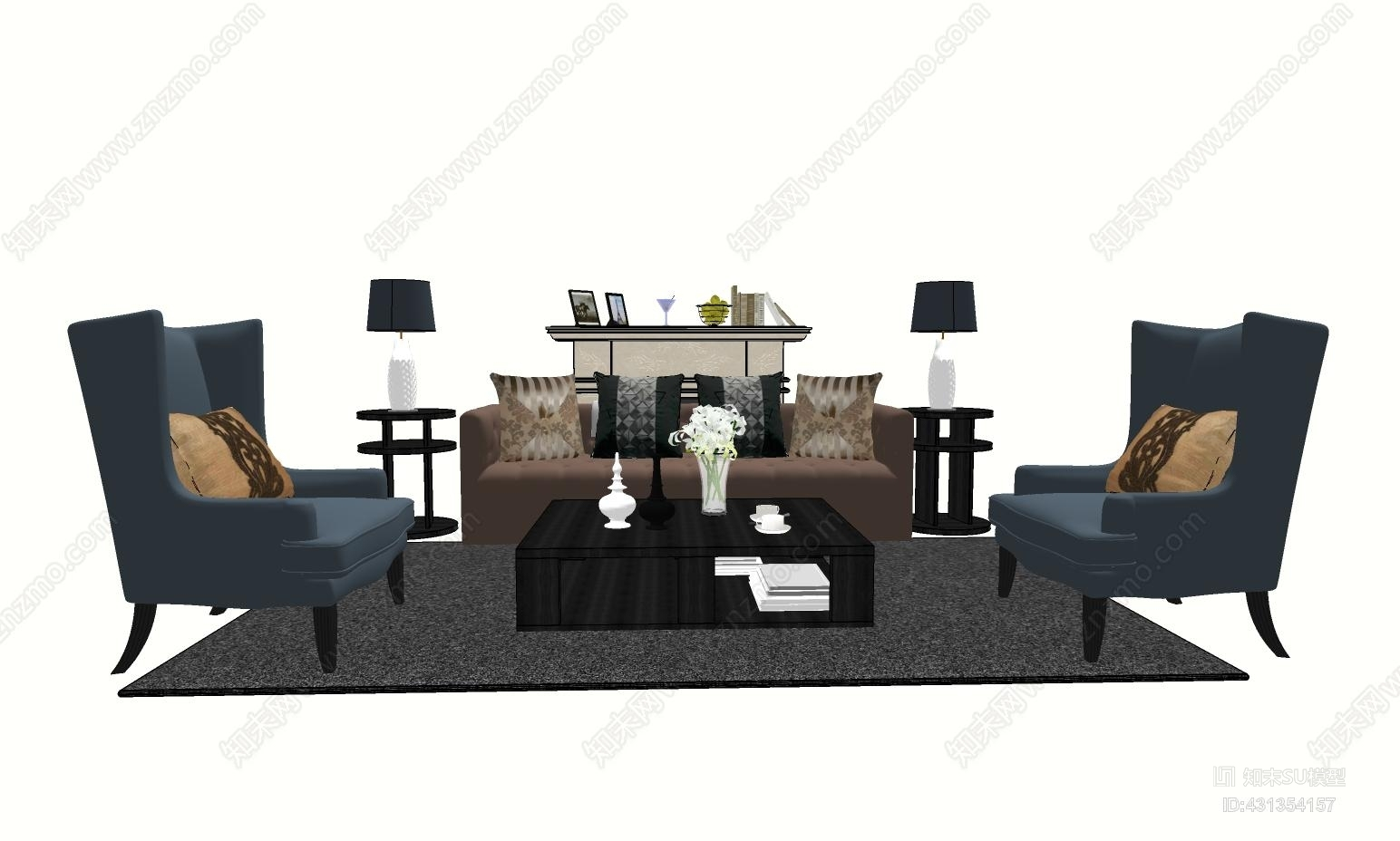 古典欧式沙发茶几组合