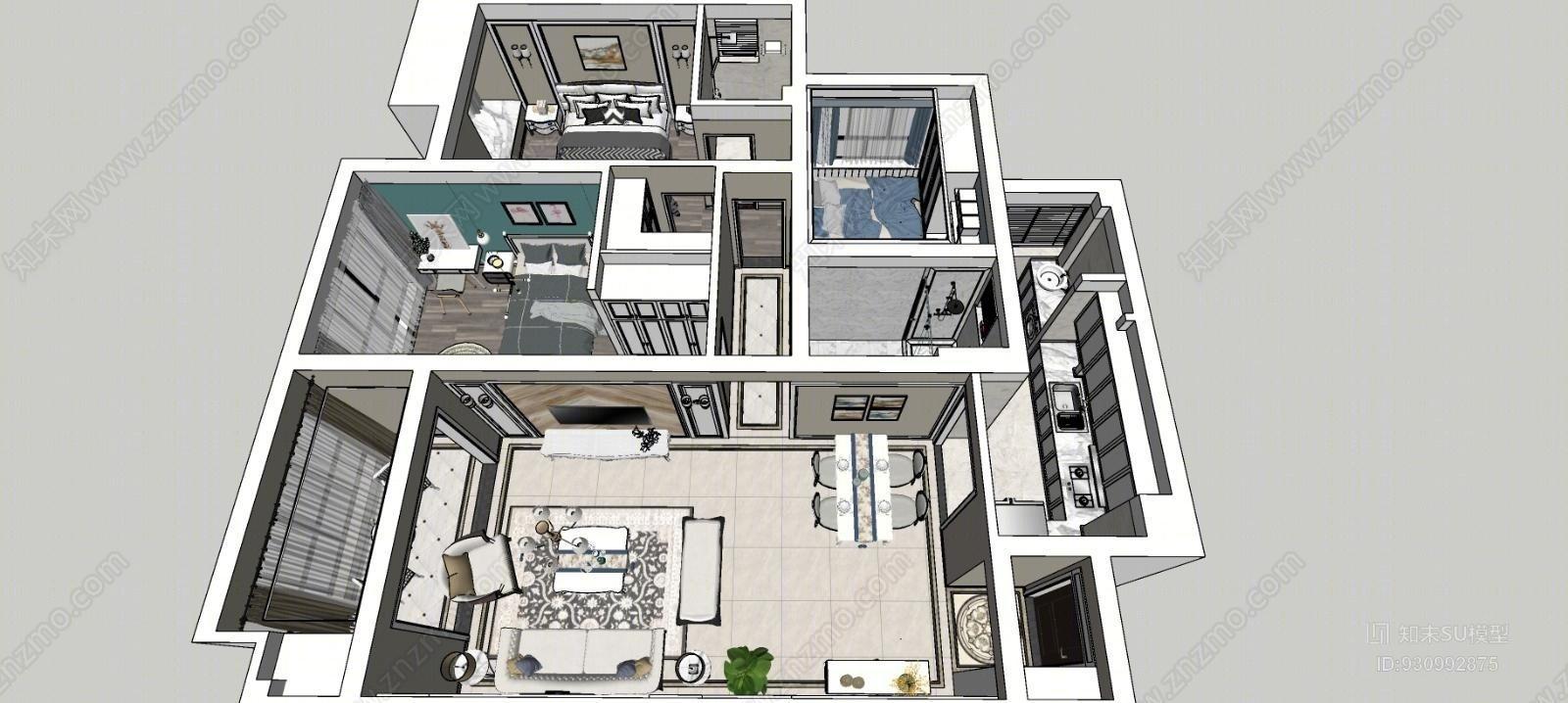 欧式整体模型 简欧风格 简欧客厅 简欧餐厅 简欧卧室