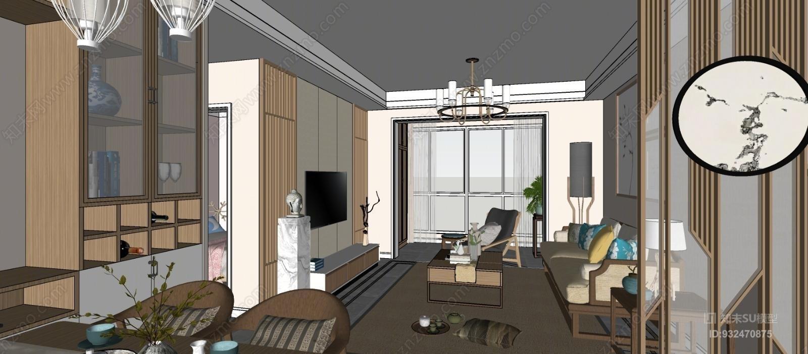 新中式风格整套模型 禅意风格 中式风格宿舍 柜子 床 衣柜 书桌