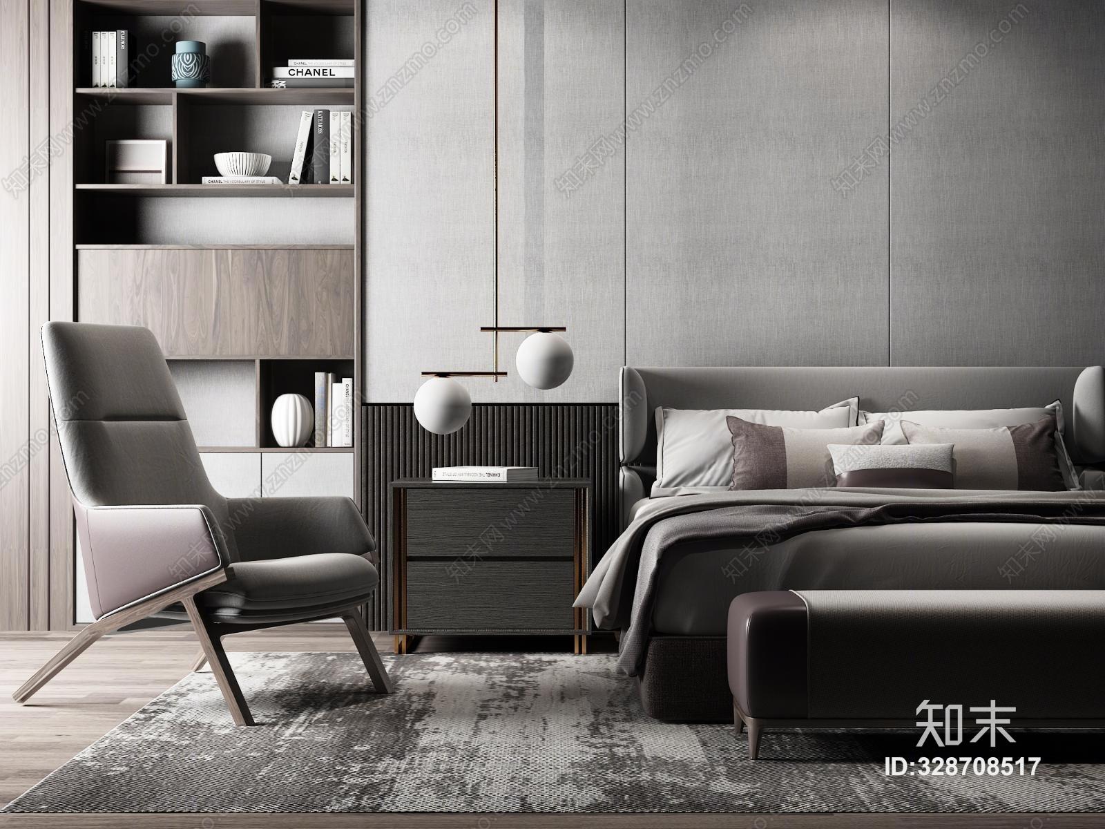 现代奢华双人床休闲椅组合