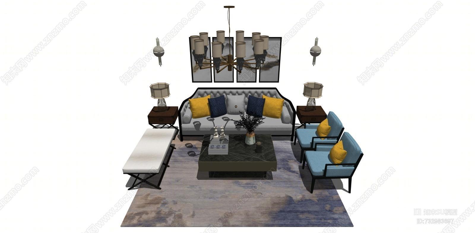 新中式沙发茶几 装饰画 吊灯 饰品摆件 墙壁饰 地毯 台灯