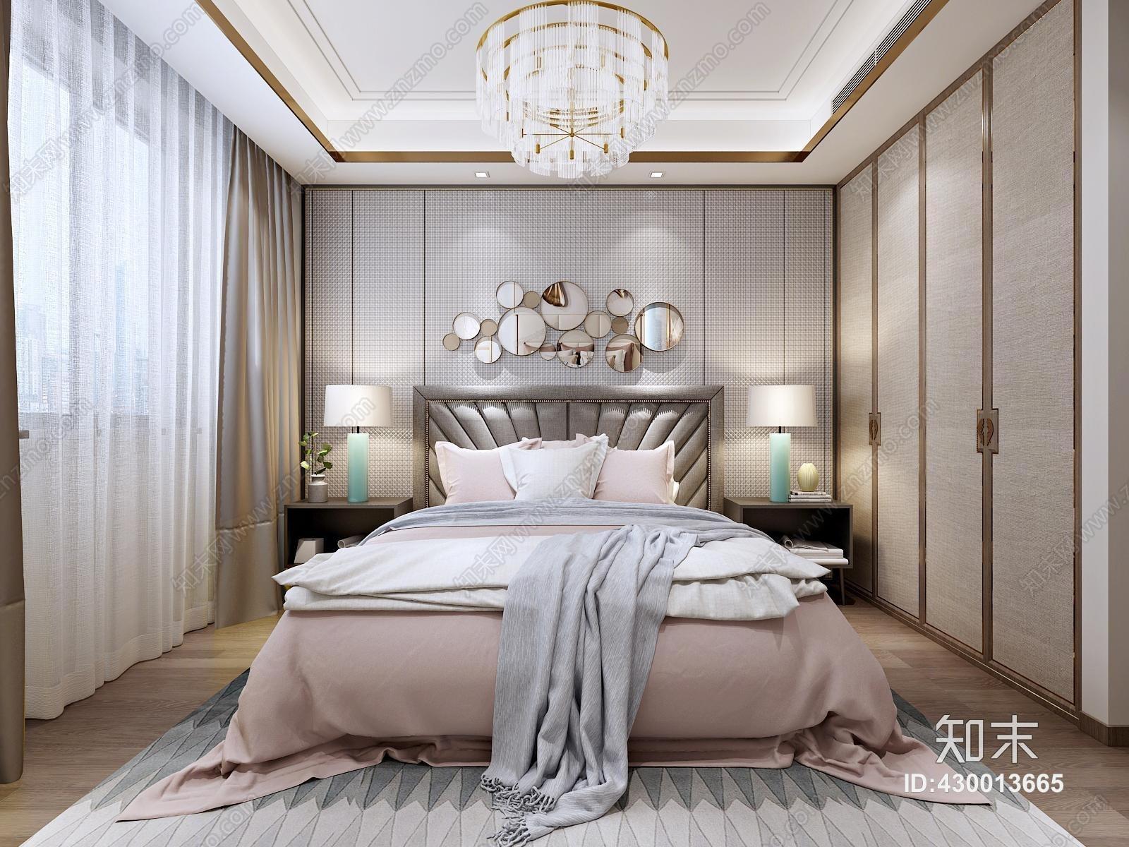 新中式 卧室 女儿房 双人床 单人床 床 床头柜 吊灯 壁灯