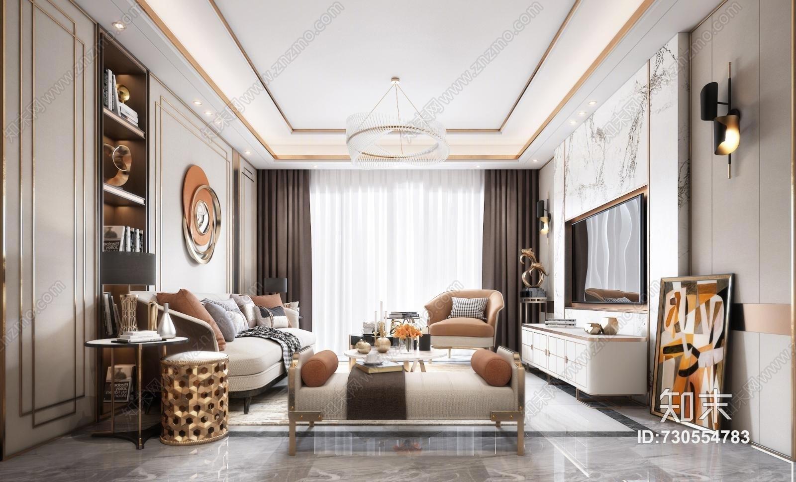 后现代客厅 沙发 餐桌 吊灯 台灯 地毯 窗帘 装饰品 挂画 茶几