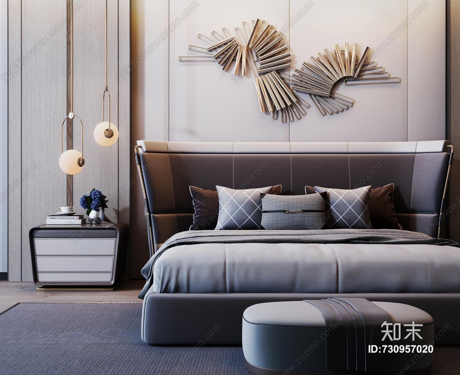 现代双人床 墙饰 吊灯 床头柜 床尾凳