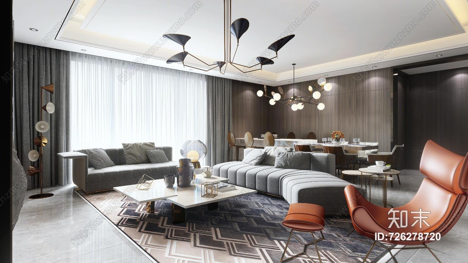 现代港式简约客餐厅 沙发茶几 吊灯 电视柜 挂画 餐桌椅 摆件