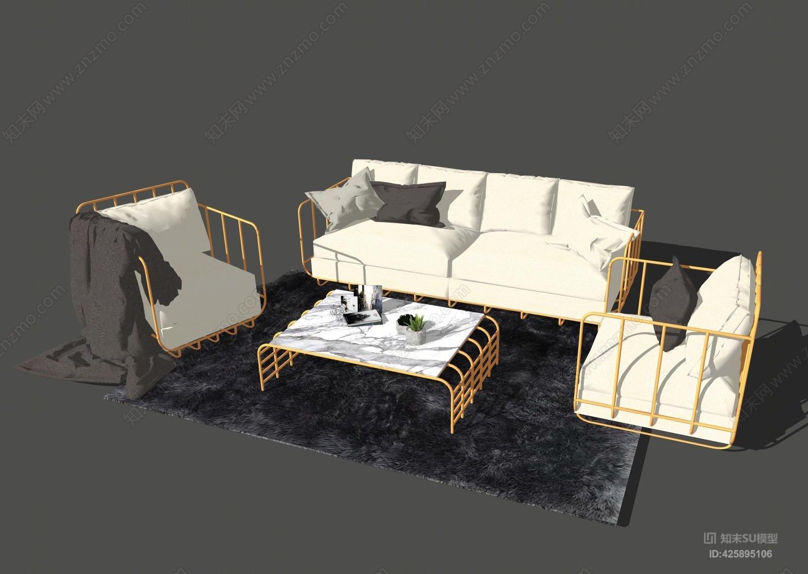 沙发组合 多人沙发 休息区