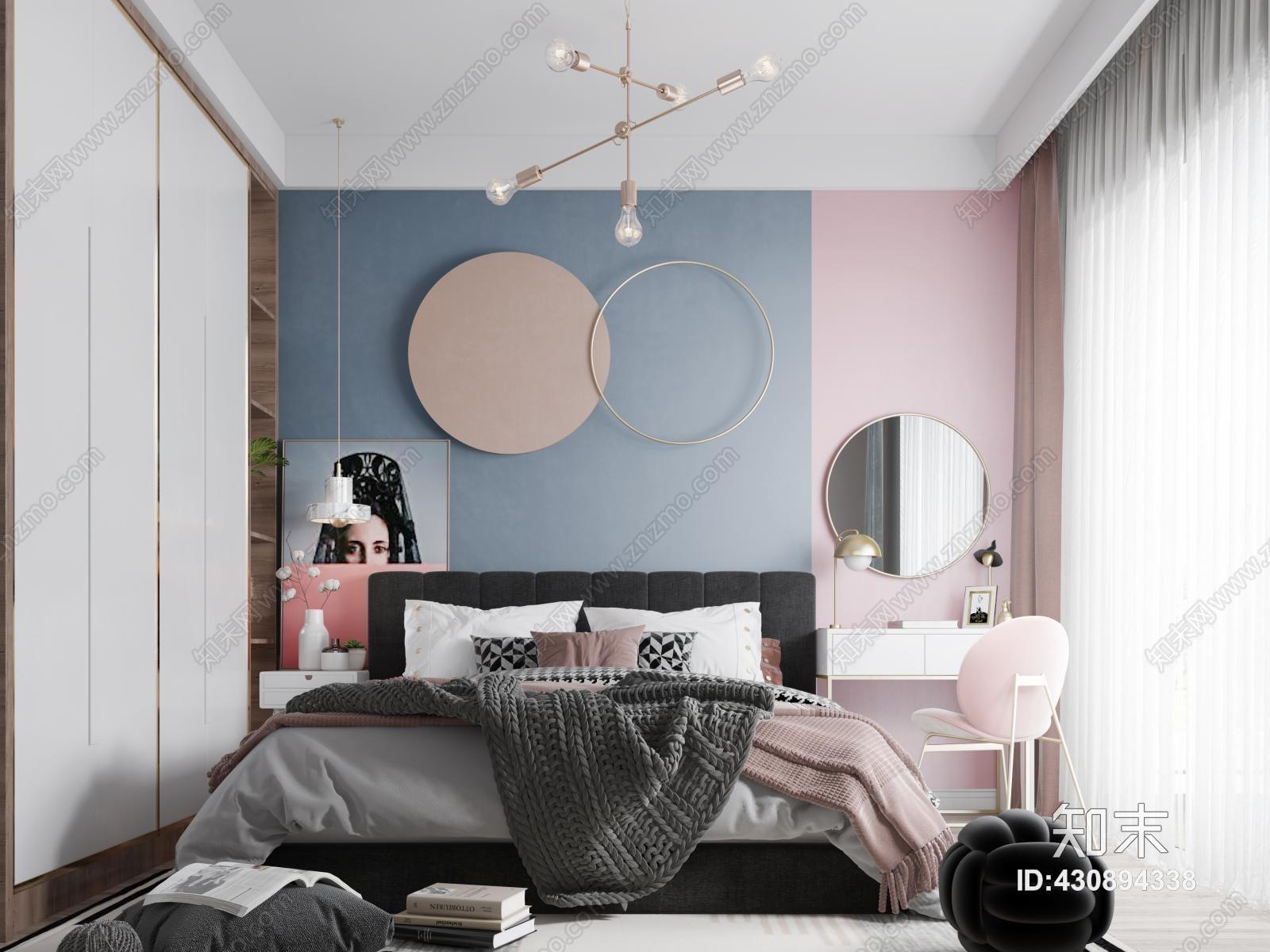 北欧女儿房 床具 灯具 衣柜 床头柜 书桌 椅子 绿植 挂画 地毯 窗帘 抱枕