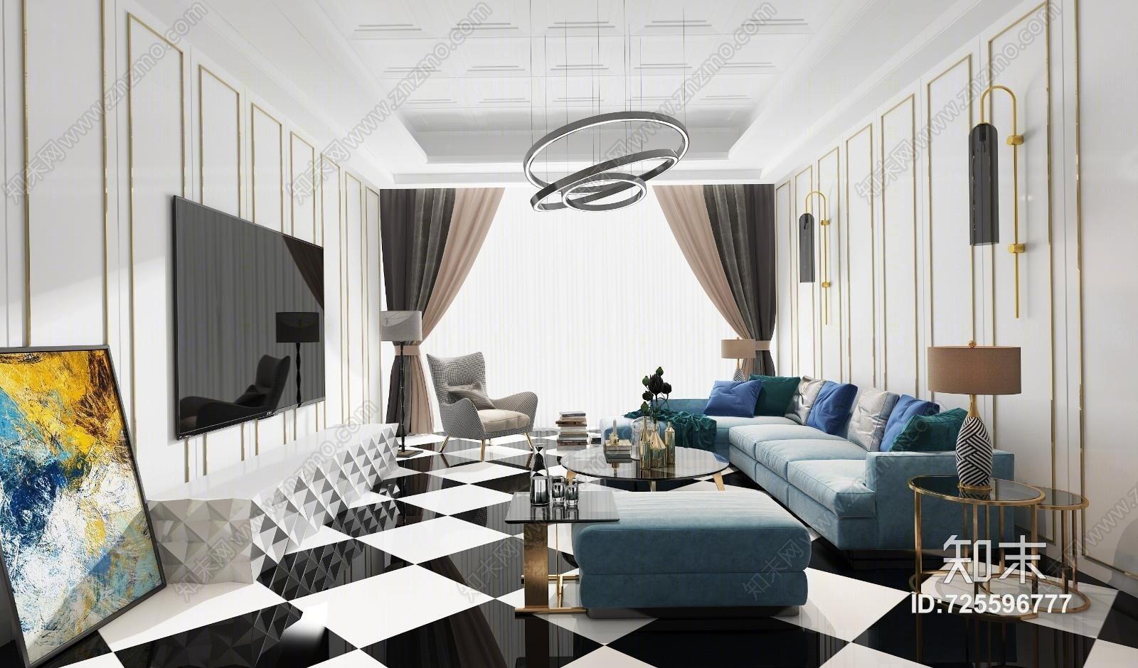 现代客厅 沙发茶几 陈设 吊灯 桌面摆件 挂画