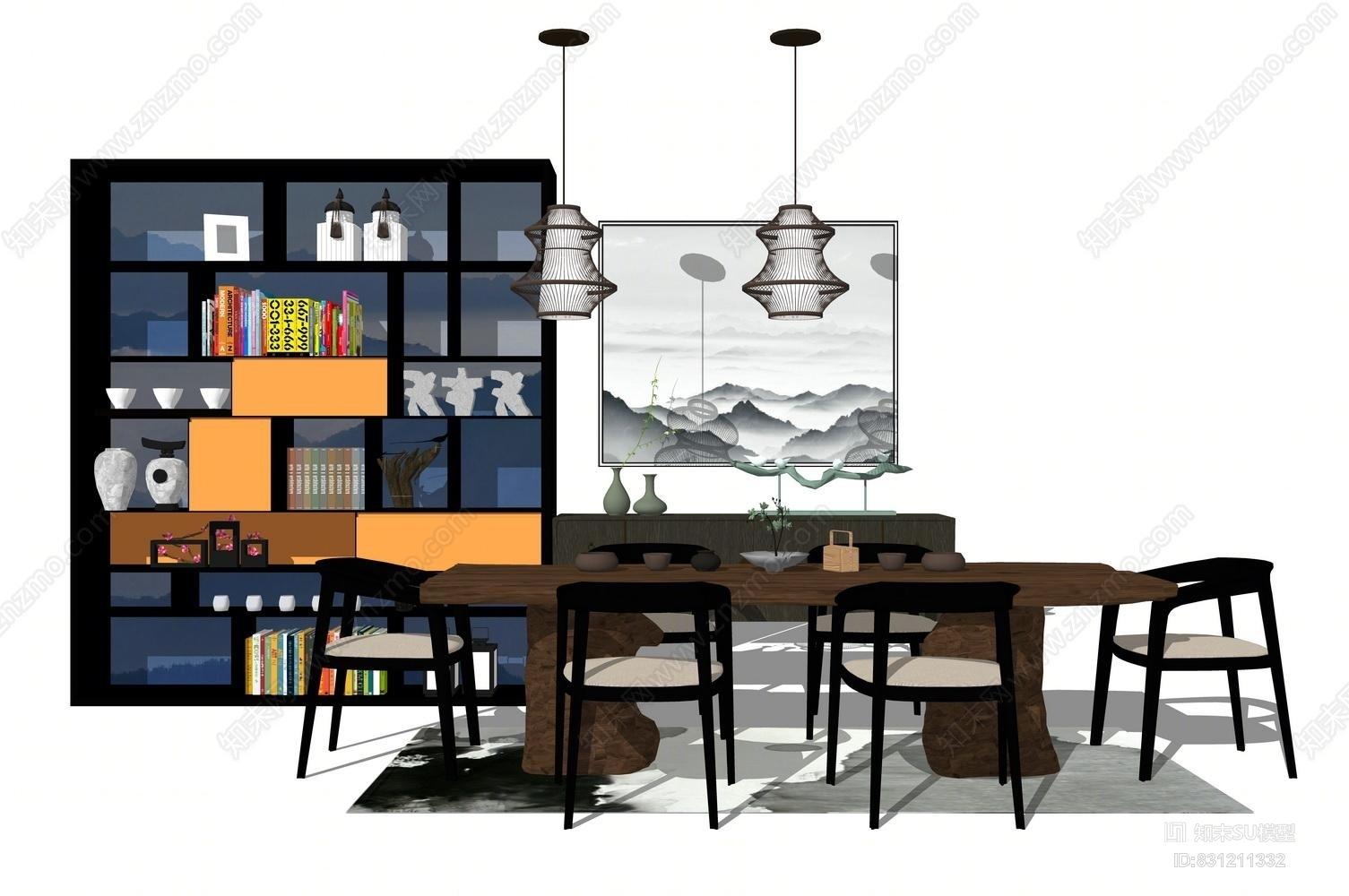 新中式泡茶桌 书桌 书柜 吊灯 挂画  装饰品组合SU模型书桌 餐厅 餐桌 家具 写字台